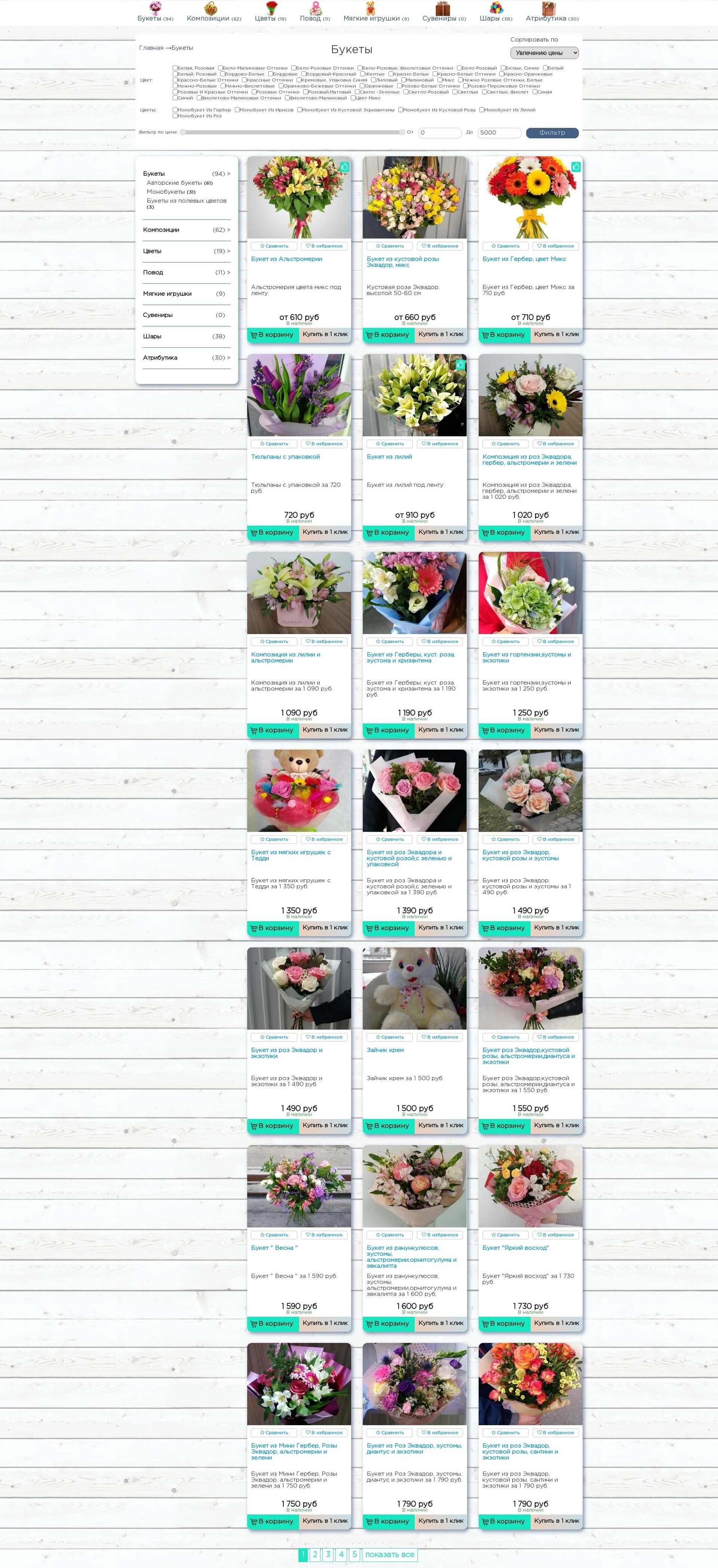 Скриншот №2 страницы сайта во весь экран. Интернет магазин для салона цветов